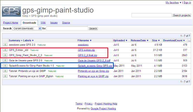 GIMP Paint Studio download sayfası